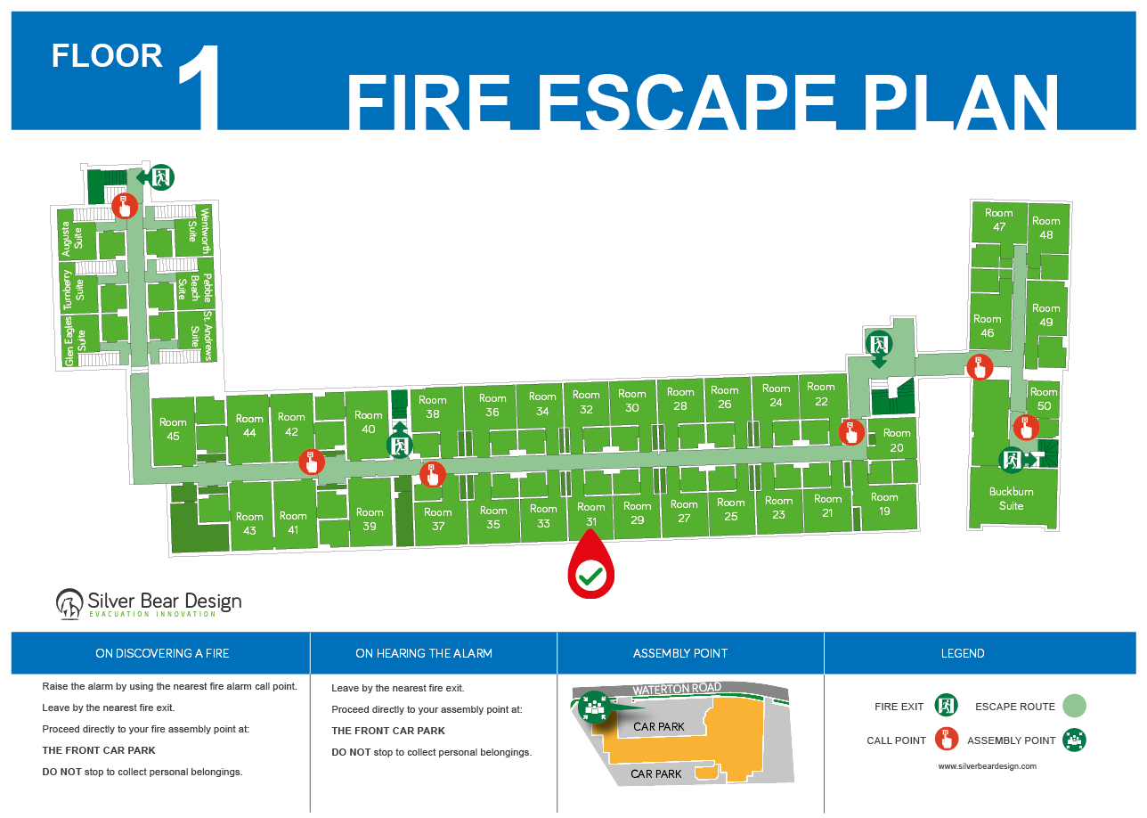 Evacuation plans for hotels and guest houses silverbear for Design guide for hotels